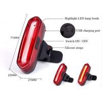 Фонарь задний с USB зарядкой СИНЕЕ/КРАСНОЕ СВЕЧЕНИЕ